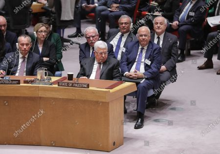 Mahmoud Abbas, during the Security Council meeting on the situation in the Middle East, including the Palestinian peace plan at the UN Headquarters