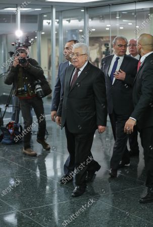 Stock Photo of Mahmoud Abbas after the Security Council meeting on the situation in the Middle East, including the Palestinian peace plan at the UN Headquarters