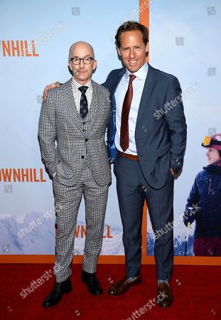 """Jim Rash, Nat Faxon. Co-directors Jim Rash, left, and Nat Faxon pose together at the premiere of """"Downhill"""" at the SVA Theatre on, in New York"""