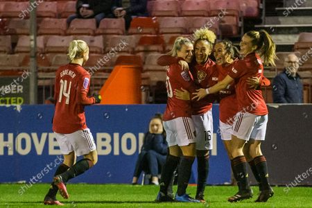 Lauren James (Manchester United) celebrates Brighton's own gaol with her team mates during the FA Women's Super League match between Brighton and Hove Albion Women and Manchester United Women at The People's Pension Stadium, Crawley