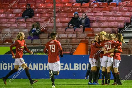 Lauren James (Manchester United), celebrates Brighton's own gaol with her team mates during the FA Women's Super League match between Brighton and Hove Albion Women and Manchester United Women at The People's Pension Stadium, Crawley