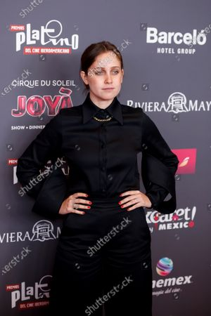 Stock Photo of Natasha Dupeyron poses on the red carpet while arriving for the 2020 Xcaret Platinum Awards, in Mexico City, Mexico, 12 February 2020. The Platinum Awards showcases notable contributions to Ibero-American Cinema.