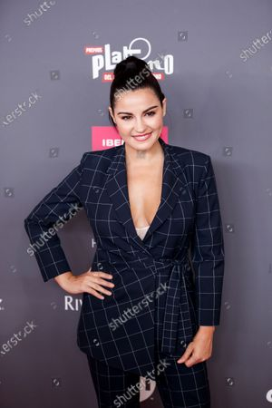 Maite Perroni poses on the red carpet while arriving for the 2020 Xcaret Platinum Awards, in Mexico City, Mexico, 12 February 2020. The Platinum Awards showcases notable contributions to Ibero-American Cinema.