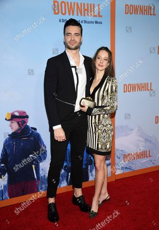 """Giulio Berruti, left, and guest attend the premiere of """"Downhill"""" at the SVA Theatre on, in New York"""