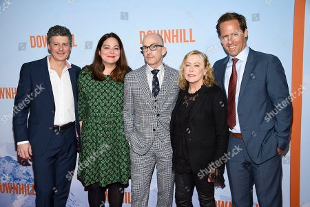 "Anthony Bregman, Stefani Azpiazu. Jim Rash, Nancy Utley, Nat Faxon. Producer Anthony Bregman, left, producer Stefani Azpiazu, director Jim Rash, Fox Searchlight Pictures president Nancy Utley and director Nat Faxon pose together at the premiere of ""Downhill"" at the SVA Theatre on, in New York"