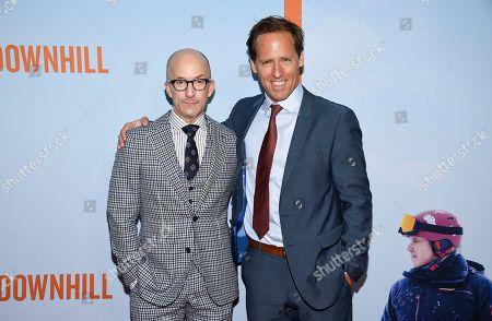 "Jim Rash, Nat Faxon. Co-directors Jim Rash, left, and Nat Faxon attend the premiere of ""Downhill"" at the SVA Theatre on, in New York"