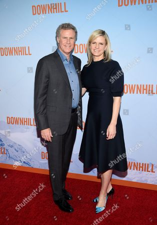 """Stock Photo of Will Ferrell, Viveca Paulin. Actor Will Ferrell, left, and wife Viveca Paulin attend the premiere of """"Downhill"""" at the SVA Theatre on, in New York"""