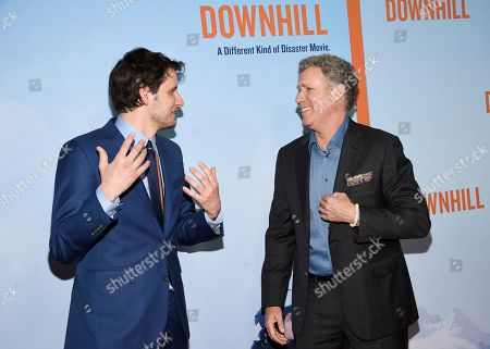 """Zach Woods, Will Ferrell. Actors Zach Woods, left, and Will Ferrell attend the premiere of """"Downhill"""" at the SVA Theatre on, in New York"""