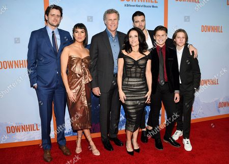 """Zach Woods, Zoe Chao, Will Ferrell, Julia Louis-Dreyfus, Giulio Berruti, Ammon Jacob Ford, Julian Grey. Actors Zach Woods, left, Zoe Chao, Will Ferrell, Julia Louis-Dreyfus, Giulio Berruti, Ammon Jacob Ford and Julian Grey pose together at the premiere of """"Downhill"""" at the SVA Theatre on, in New York"""