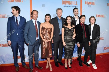 """Zach Woods, Nat Faxon, Zoe Chao, Will Ferrell, Julia Louis-Dreyfus, Giulio Berruti, Ammon Jacob Ford, Julian Grey. Actor Zach Woods, left, director Nat Faxon, actors Zoe Chao, Will Ferrell, Julia Louis-Dreyfus, Giulio Berruti, Ammon Jacob Ford and Julian Grey pose together at the premiere of """"Downhill"""" at the SVA Theatre on, in New York"""