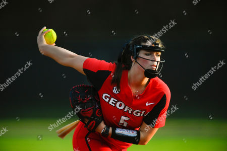Georgia player Mary Wilson Avant pitches during an NCAA college softball game against Georgia State, in Atlanta