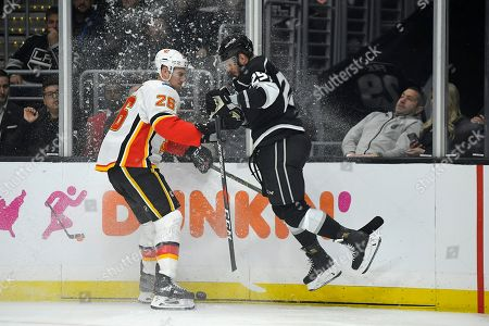 Michael Stone, Marin Frk. Calgary Flames defenseman Michael Stone, left, and Los Angeles Kings right wing Marin Frk collide during the second period of an NHL hockey game, in Los Angeles