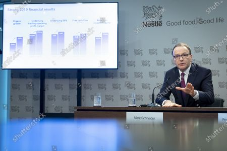 Nestle's CEO Ulf Mark Schneider speaks during the 2019 full-year results press conference of the food and drinks giant Nestle in Vevey, Switzerland, 13 February 2020.
