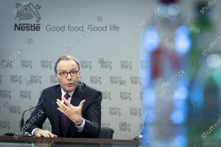 Stock Picture of Nestle's CEO Ulf Mark Schneider speaks during the 2019 full-year results press conference of the food and drinks giant Nestle in Vevey, Switzerland, 13 February 2020.