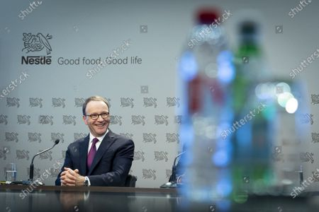 Stock Photo of Nestle's CEO Ulf Mark Schneider speaks during the 2019 full-year results press conference of the food and drinks giant Nestle in Vevey, Switzerland, 13 February 2020.