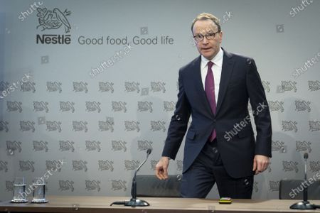 Stock Image of Nestle's CEO Ulf Mark Schneider attends the 2019 full-year results press conference of the food and drinks giant Nestle in Vevey, Switzerland, 13 February 2020.