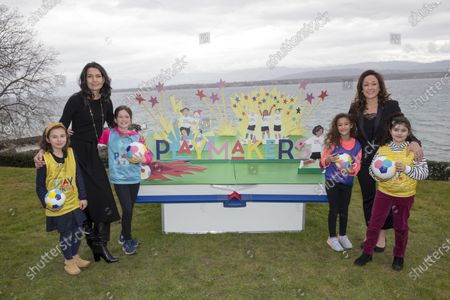 UEFA Playmakers - Nicole Morse (Disney - left) and Nadine Kessler (UEFA - right) with Playmaker girls Apolline, Lana, Minnie Mouse, Mickey Mourse, Chloe and Julia