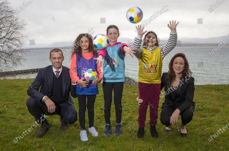 UEFA Playmakers - UEFA President Aleksander Ceferin and Nadine Kessler with Playmaker girls Lana, Julia and Chloe
