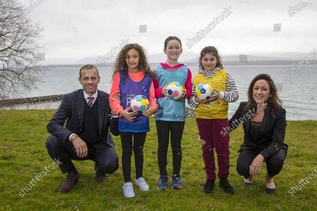 Stock Image of UEFA Playmakers - UEFA President Aleksander Ceferin and Nadine Kessler with Playmaker girls Lana, Julia and Chloe