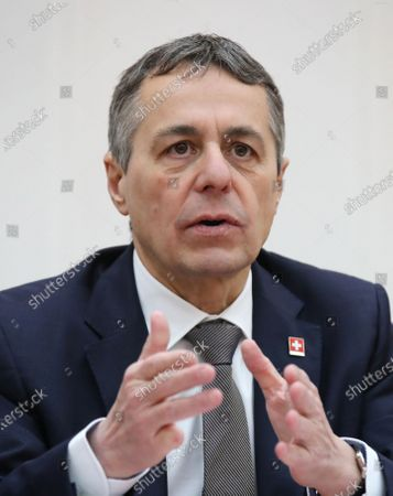Swiss Federal Councillor and Foreign Minister Ignazio Cassis talks to Belarussian Foreign Minister Vladimir Makei (not pictured) during their meeting in Minsk, Belarus, 13 February 2020. Ignazio Cassis is on his visit in Belarus for the official opening of a Swiss embassy.
