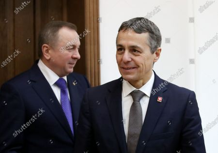 Swiss Federal Councillor and Foreign Minister Ignazio Cassis (R) walks with Belarussian Foreign Minister Vladimir Makei (L) during their meeting in Minsk, Belarus, 13 February 2020. Ignazio Cassis is on his visit in Belarus for the official opening of a Swiss embassy.