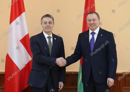 Swiss Federal Councillor and Foreign Minister Ignazio Cassis (L) and Belarussian Foreign Minister Vladimir Makei (R) pose for a photo during their meeting in Minsk, Belarus, 13 February 2020. Ignazio Cassis is on his visit in Belarus for the official opening of a Swiss embassy.