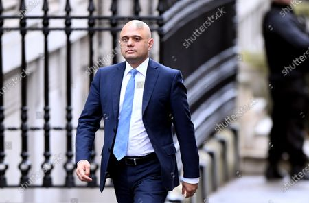 Sajid Javid arrives at No.10 Downing Street during a cabinet reshuffle in which he resigns as Chancellor of the Exchequer.