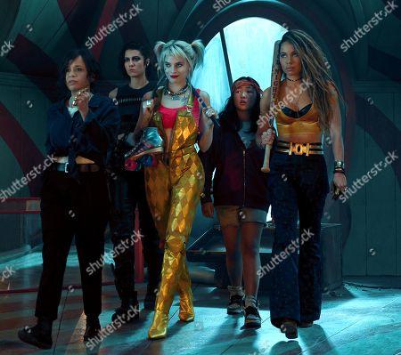 Rosie Perez as Renee Montoya, Mary Elizabeth Winstead as Helena Bertinelli/The Huntress, Margot Robbie as Harley Quinn, Ella Jay Basco as Cassandra Cain and Jurnee Smollett-Bell as Dinah Lance/Black Canary