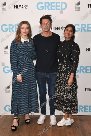 Sophie Cookson, Ollie Locke and Dinita Gohil attend the Special Screening of Greed in London. Greed releases in UK cinemas on the 21st February