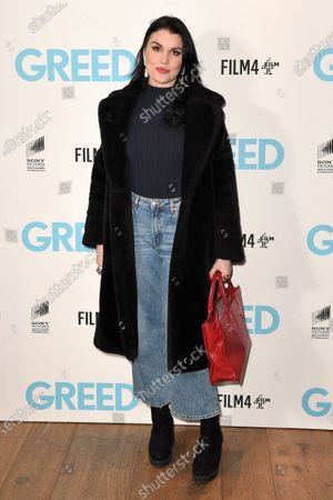 Coco Fennell attends the Special Screening of Greed in London. Greed releases in UK cinemas on the 21st February