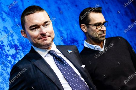 German businessman and Hertha BSC investor Lars Windhorst (L) and Hertha's general manager Michael Preetz (R) arrive for a press conference of the German Bundesliga soccer club in Berlin, Germany, 13 February 2020. Juergen Klinsmann, who stepped down as coach of Hertha BSC after ten weeks in charge, will not return as member of the supervisory board.