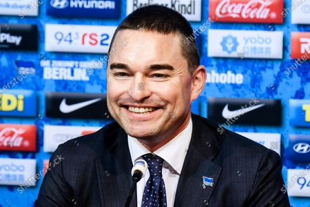 German businessman and Hertha BSC investor Lars Windhorst smiles during a press conference of the German Bundesliga soccer club in Berlin, Germany, 13 February 2020. Juergen Klinsmann, who stepped down as coach of Hertha BSC after ten weeks in charge, will not return as member of the supervisory board.