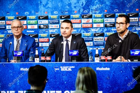(L-R) Hertha BSC president Werner Gegenbauer, German businessman and Hertha BSC investor Lars Windhorst, and general manager Michael Preetz attend a press conference of the German Bundesliga soccer club in Berlin, Germany, 13 February 2020. Juergen Klinsmann, who stepped down as coach of Hertha BSC after ten weeks in charge, will not return as member of the supervisory board.