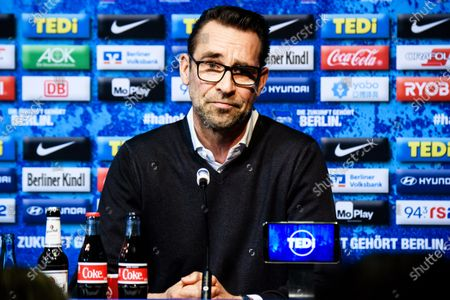 Hertha BSC general manager Michael Preetz attends a press conference of the German Bundesliga soccer club in Berlin, Germany, 13 February 2020. Juergen Klinsmann, who stepped down as coach of Hertha BSC after ten weeks in charge, will not return as member of the supervisory board.