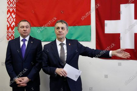 Swiss Federal Councillor and Foreign Minister Ignazio Cassis (C) with Belarusian Foreign Minister Vladimir Makei (L) during the opening ceremony of a Swiss embassy in Minsk, Belarus, 13 February 2020. Ignazio Cassis is on his visit in Belarus, during which a Swiss embassy will be opened.