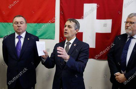 Swiss Federal Councillor and Foreign Minister Ignazio Cassis (C) with Belarusian Foreign Minister Vladimir Makei (L) and Claude Altermatt (R) head of the Office of the Embassy of Switzerland in Minsk during the opening ceremony of a Swiss embassy in Minsk, Belarus, 13 February 2020. Ignazio Cassis is on his visit in Belarus, during which a Swiss embassy will be opened.