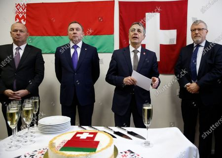 Swiss Federal Councillor and Foreign Minister Ignazio Cassis (2-R) with Belarusian Foreign Minister Vladimir Makei (2-L) and Claude Altermatt (R) head of the Office of the Embassy of Switzerland in Minsk during the opening ceremony of a Swiss embassy in Minsk, Belarus, 13 February 2020. Ignazio Cassis is on his visit in Belarus, during which a Swiss embassy will be opened.