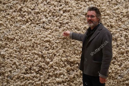 Danish artist Olafur Eliasson poses next to one of his artworks displayed at the Guggenheim Museum in Bilbao, Spain, 13 February 2020. The exhibition 'Olafur Eliasson: in the Real World' will be open to public from 14 February to 21 June 2020.