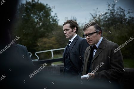 Shaun Evans as Endeavour and James Bradshaw as Dr Max Debryn.