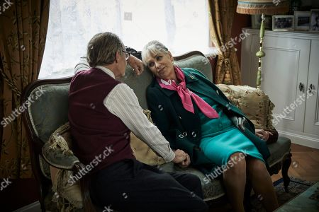 Anton Lesser as Chief Super Reginald Bright and Carol Royle as Mrs Bright.