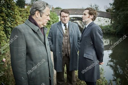 Stock Image of Shaun Evans as Endeavour, Sean Rigby as DS Jim Strange and Roger Allam as Fred Thursday.