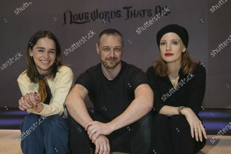 Stock Photo of Emilia Clarke, James McAvoy (Cyrano de Bergerac) and Jessica Chastain backstage