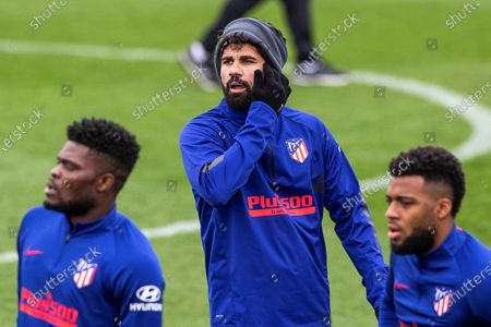 Atletico Madrid players (L-R) Thomas Partey, Diego Costa, and Thomas Lemar attend their team's training session at Wanda sports city in Majadahonda, Madrid, Spain, 13 February 2020. Atletico Madrid will face Valencia CF in their Spanish La Liga soccer match on 14 February 2020.