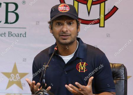 Stock Picture of Former Sri Lankan captain Kumar Sangakkara addresses a news conference in Lahore, Pakistan, . A Marylebone Cricket Club, MCC, team led by Sangakkara arrived in Lahore on Thursday to support international tours of Pakistan. The London-based MCC will play four limited-overs matches against local teams