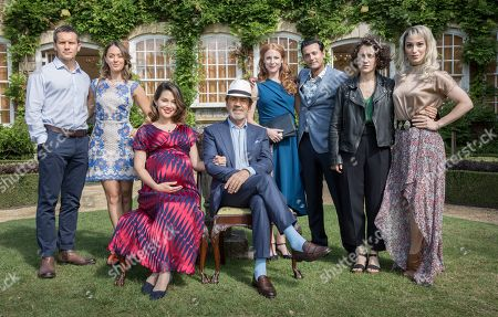 L-R: Jack Ashton as Jack Valentine, Susannah Fielding as Tamara Valentine, Natalie Mendoza as Mathilde Crockett, Robert Lindsay as Jim Crockett, Rosalie Craig as Megan Wattal, Navin Chowdhry as Pete Wattal, Ellie Kendrick as Elenora Crockett and Cassie Bradley as Kasha Perry.
