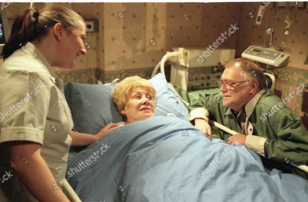 40th anniversary live episode. Donna Lythgoe (as Nurse Dooley), Elizabeth Dawn (as Vera Duckworth) and William Tarmey (as Jack Duckworth)
