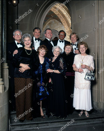 Coronation Street 40th Anniversary party. Back row: Alan Rothwell, Ernst Walder, Tony Warren, Kenneth Farrington and William Roache Front row: Anne Cunningham, Angela Crow, Daphne Oxenford, Doreen Keogh and Jean Alexander