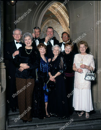 Coronation Street 40th Anniversary party. Back row: Alan Rothwell, Ernst Walder, Tony Warren, and Kenneth Farrington Front row: Anne Cunningham, Angela Crow, Daphne Oxenford, Doreen Keogh and Jean Alexander