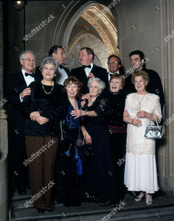 Stock Photo of Coronation Street 40th Anniversary party. Back row: Alan Rothwell, Ernst Walder, Tony Warren, Kenneth Farrington and William Roache Front row: Anne Cunningham, Angela Crow, Daphne Oxenford, Doreen Keogh and Jean Alexander