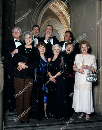 Stock Image of Coronation Street 40th Anniversary party. Back row: Alan Rothwell, Ernst Walder, Tony Warren, and Kenneth Farrington Front row: Anne Cunningham, Angela Crow, Daphne Oxenford, Doreen Keogh and Jean Alexander